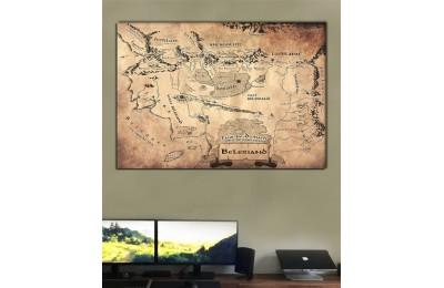 srye96s - Özel Tasarım İngilizce Beleriand Haritası - Silmarillion Kanvas Tablo