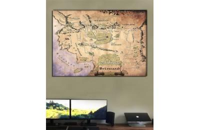 srye96sr - Özel Tasarım Renkli Beleriand Haritası - Silmarillion Kanvas Tablo