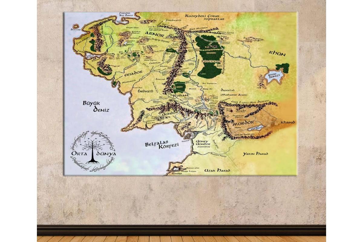 srye96t - Özel Tasarım Türkçe Orta Dünya Haritası, Yüzüklerin Efendisi - Lord of the Rings kanvas tablo