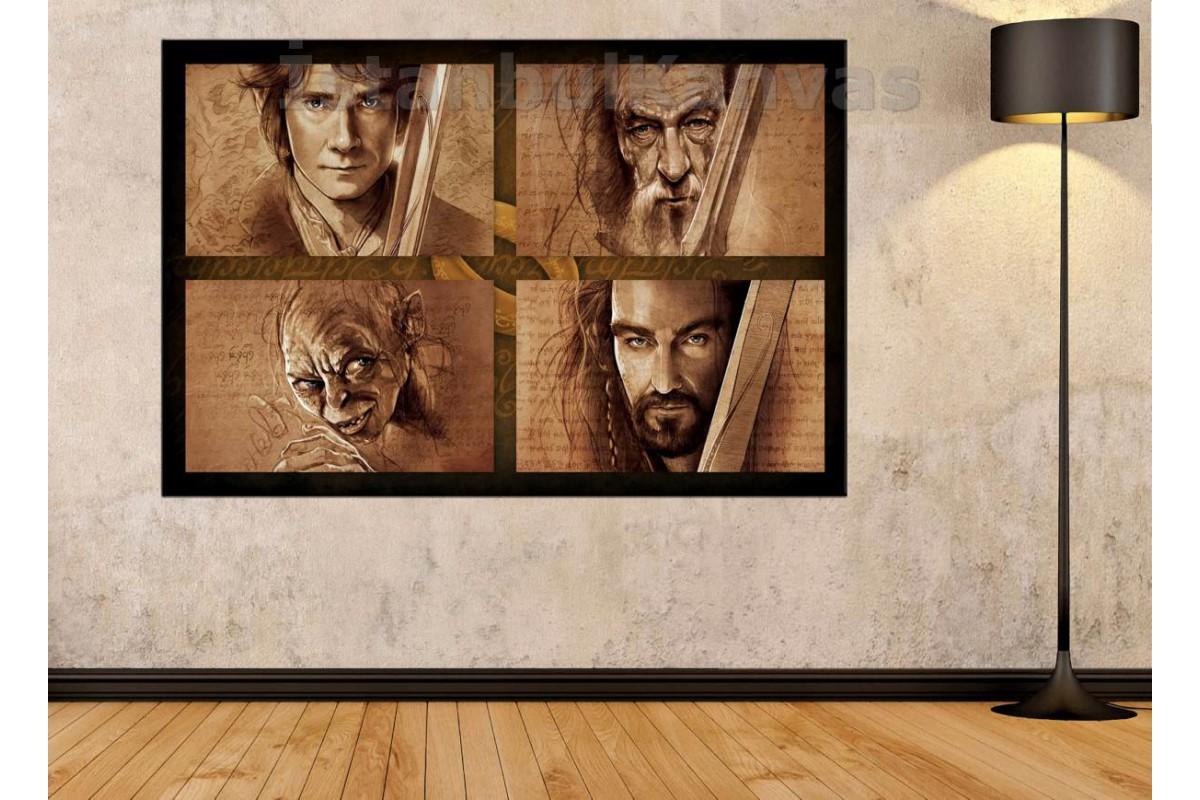Srye99 - Gandalf-Gollum-Bılbo-Thorın Kara Kalem Görünüm Lord Of The Rings Kanvas Tablo