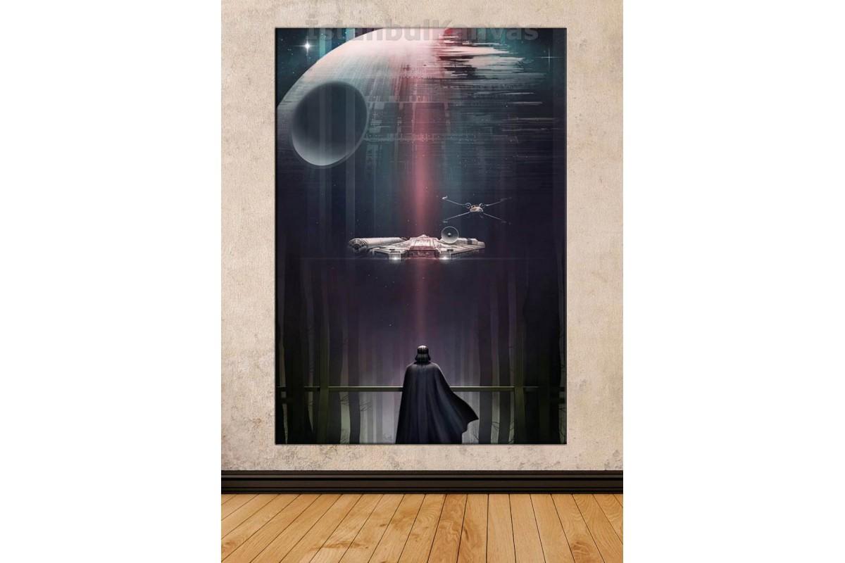 Sww13 - Star Wars (Yıldız Savaşları) Darth Vader, Mıllennıum Falcon Ve Ölüm Yıldızı Kanvas Tablo