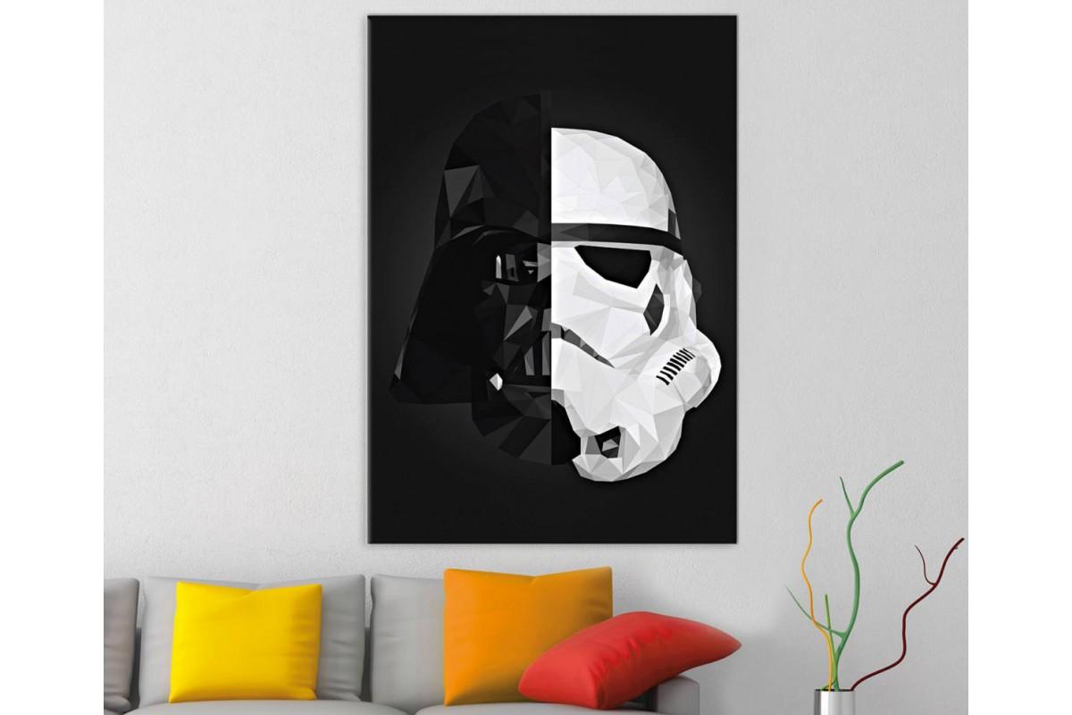 sww24 - STAR WARS, Yıldız Savaşları, Darth Vader ve Storm Trooper Maskeleri Kanvas Tablo