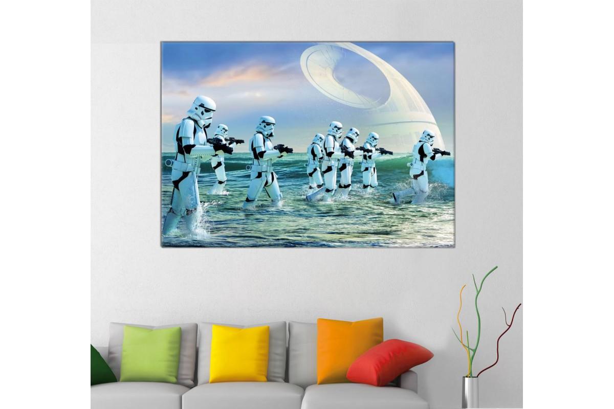 sww28 - STAR WARS, Yıldız Savaşları, Storm Trooperlar ve Ölüm Yıldızı Kanvas Tablo