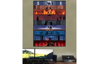 sww29 - Star Wars, Yıldız Savaşları, 9 Film, Işın Kılıcı Dövüşleri, Lightsaber Karşılaşmaları Kanvas Tablo