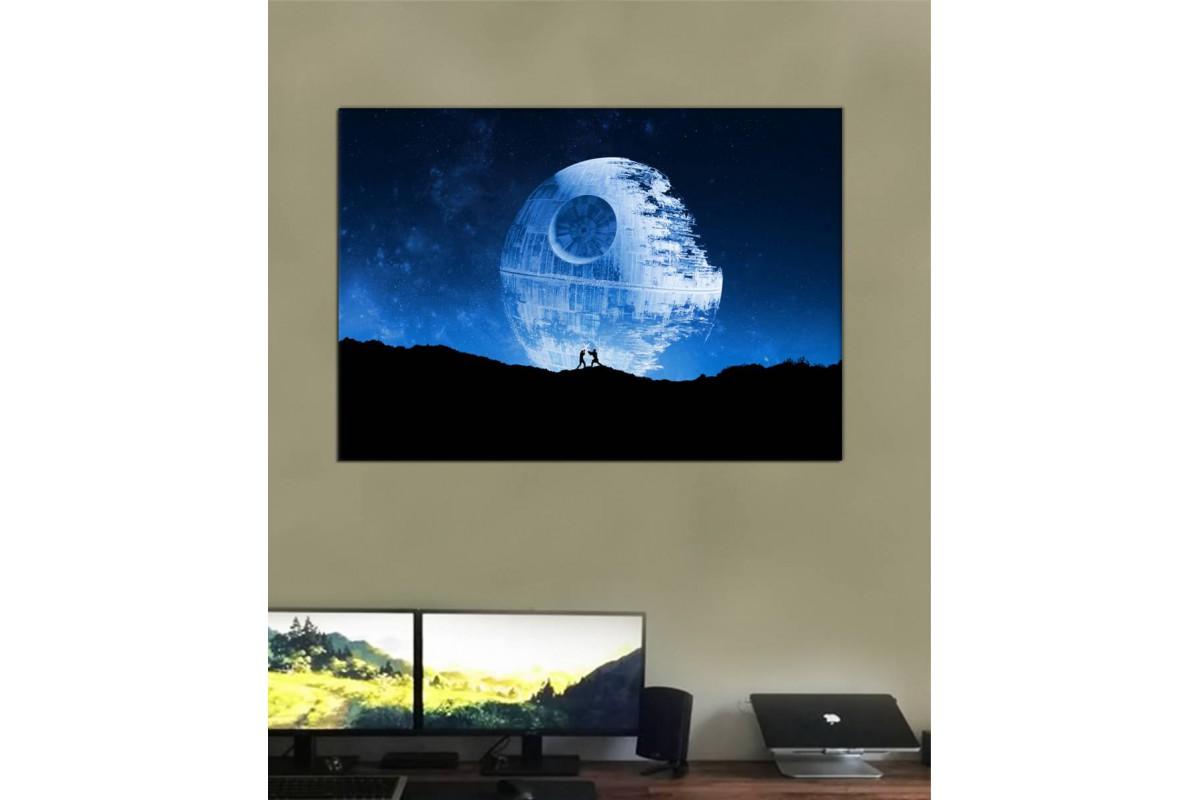 sww30 - Star Wars, Yıldız Savaşları, Ölüm Yıldızı, Sith ve Jedi Şövalyesi Kanvas Tablo