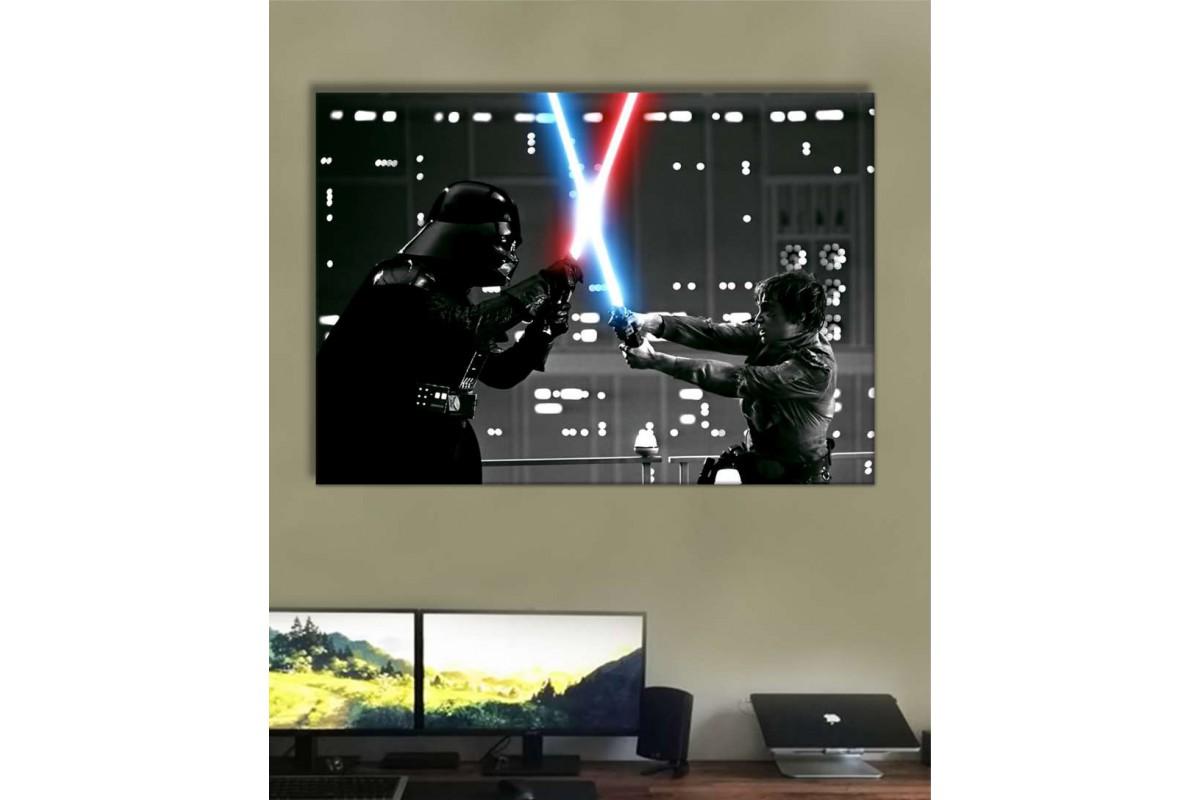 sww31 - Star Wars Darth Vader ve Luke Skywalker Işın Kılıcı Sahnesi Kanvas Tablo