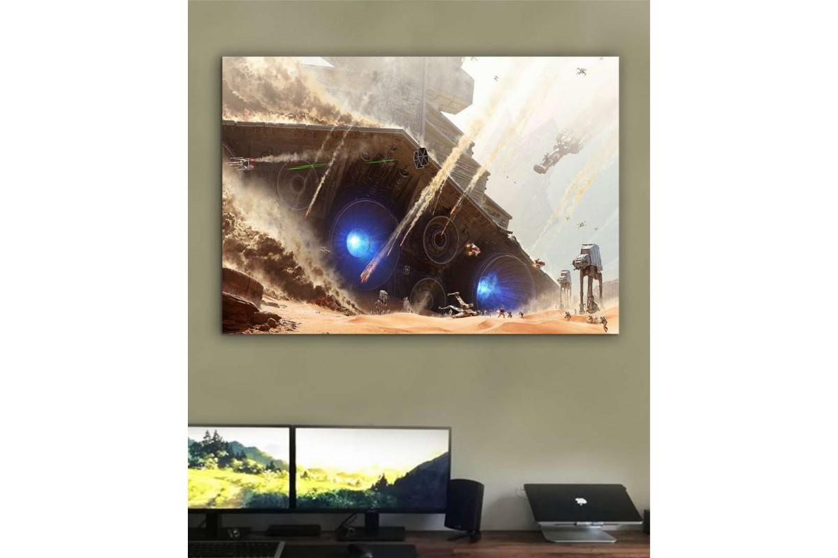 sww7 - Star Wars Savaş Sahnesi Kanvas Tablo