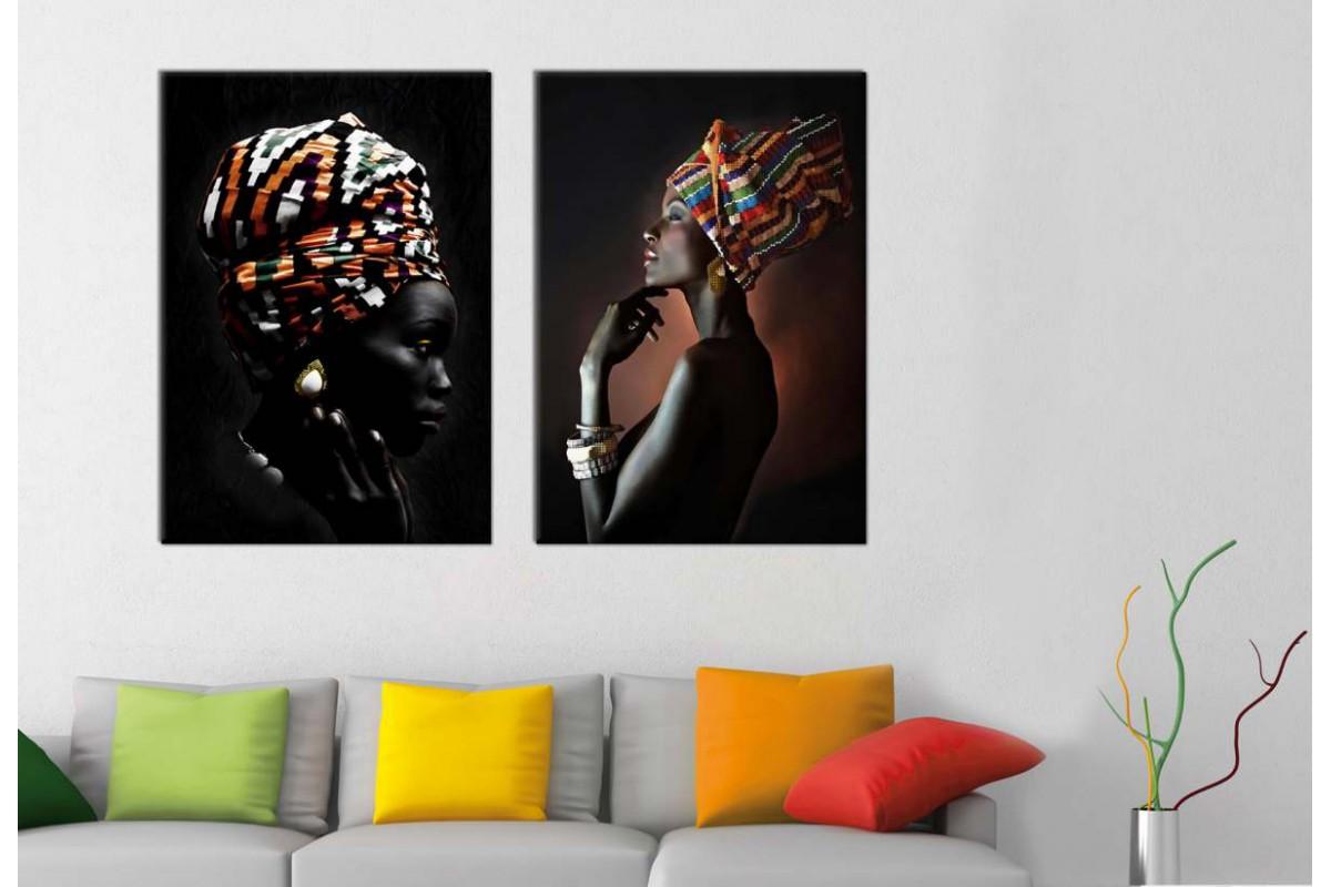 srafz2_2p - Afrikalı Etnik Kıyafetli Kadınlar Kombin Kanvas Tablo