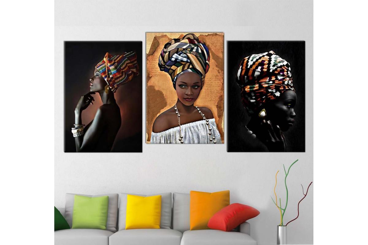 srafz3_3p - Afrikalı Etnik Kıyafetli Siyahi Kadınlar Kombin Kanvas Tablo