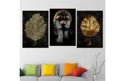 srda4d_3p - Altın Takılar ve Afrikalı Kadın, Altın Yapraklar Kombin Kanvas Tablo Seti