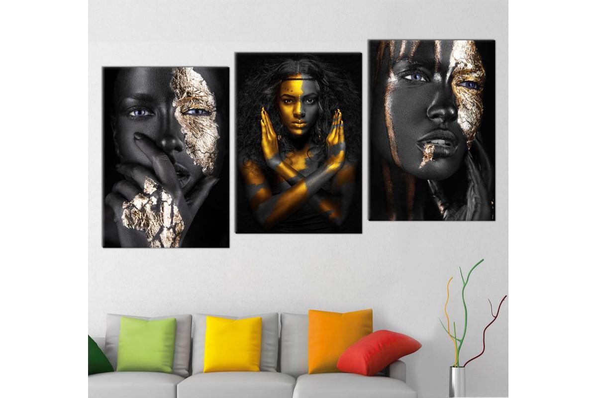srda4e_3p - Altın ve Siyah Boyalı Siyahi Kadınlar Kombin Kanvas Tablo Seti
