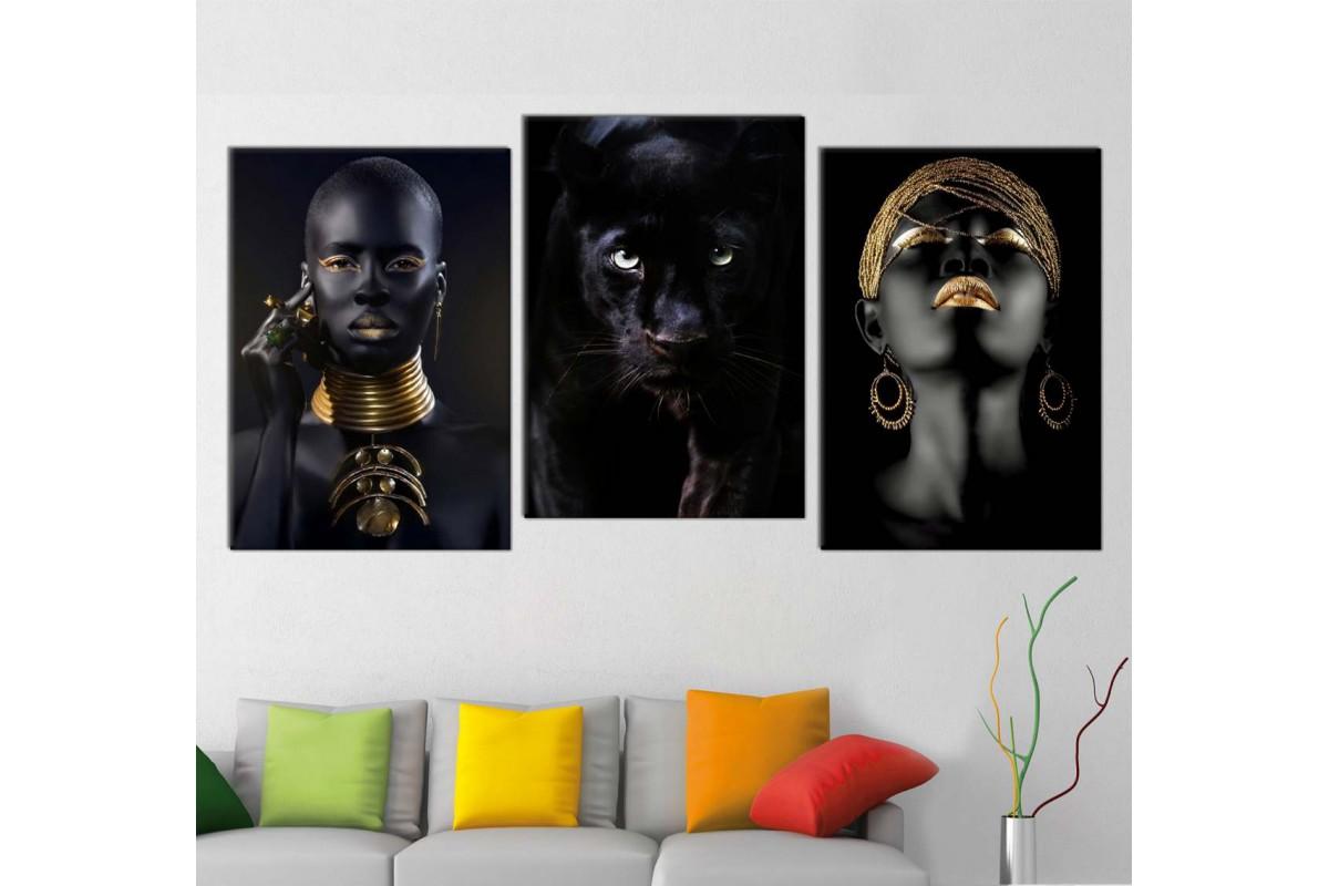 srda4f_3p - Altın ve Siyah Makyajlı Afrikalı Kadınlar ve Siyah Panter Kombin Kanvas Tablo Seti