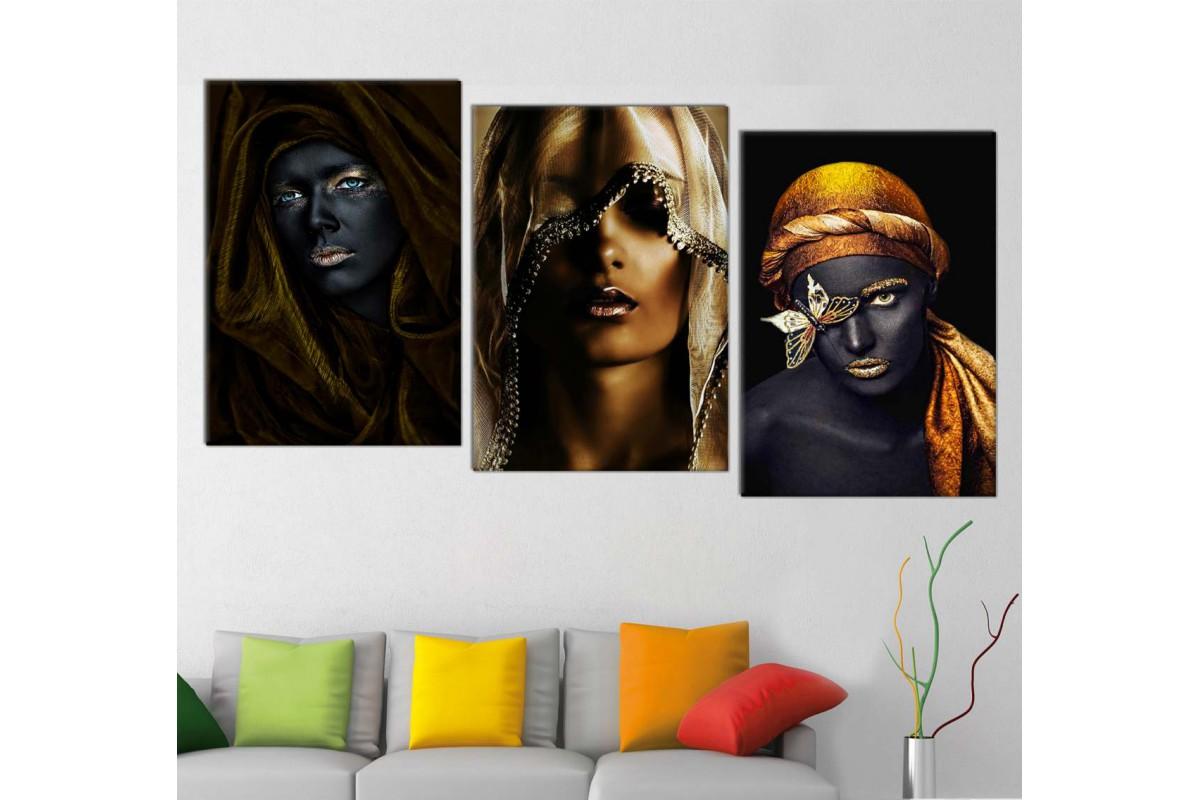 srda4g_3p - Altın ve Siyah Makyajlı Eşraplı Kadınlar Kombin Kanvas Tablo Seti
