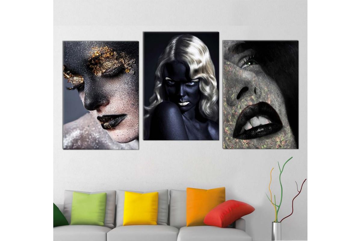 srda4h_3p - Altın ve Siyah Makyajlı Kadınlar Dekoratif Kombin Kanvas Tablo Seti