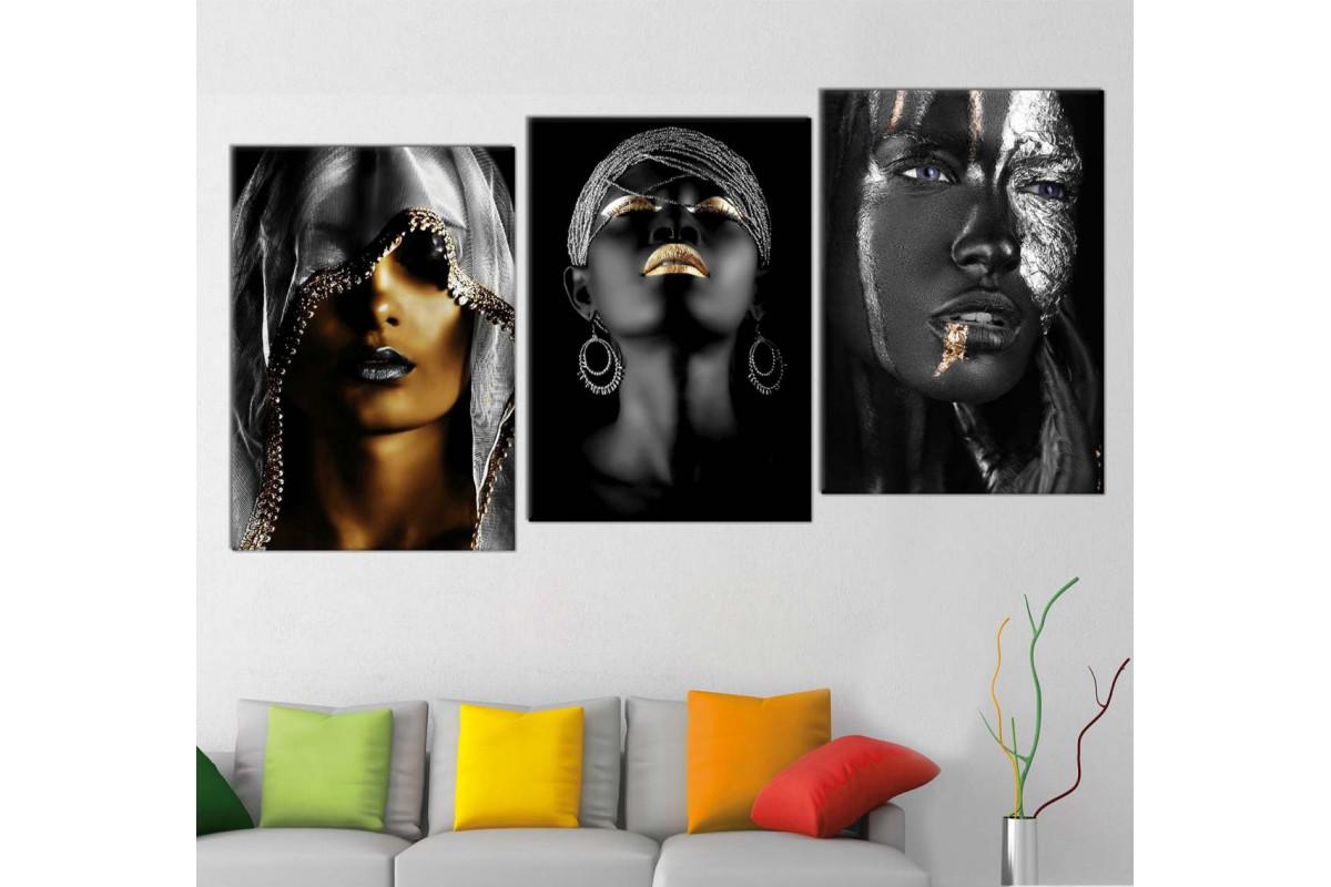 srda4j_3p - Altın ve Gümüş Siyah Makyajlı Kadınlar Dekoratif Kombin Kanvas Tablo Seti