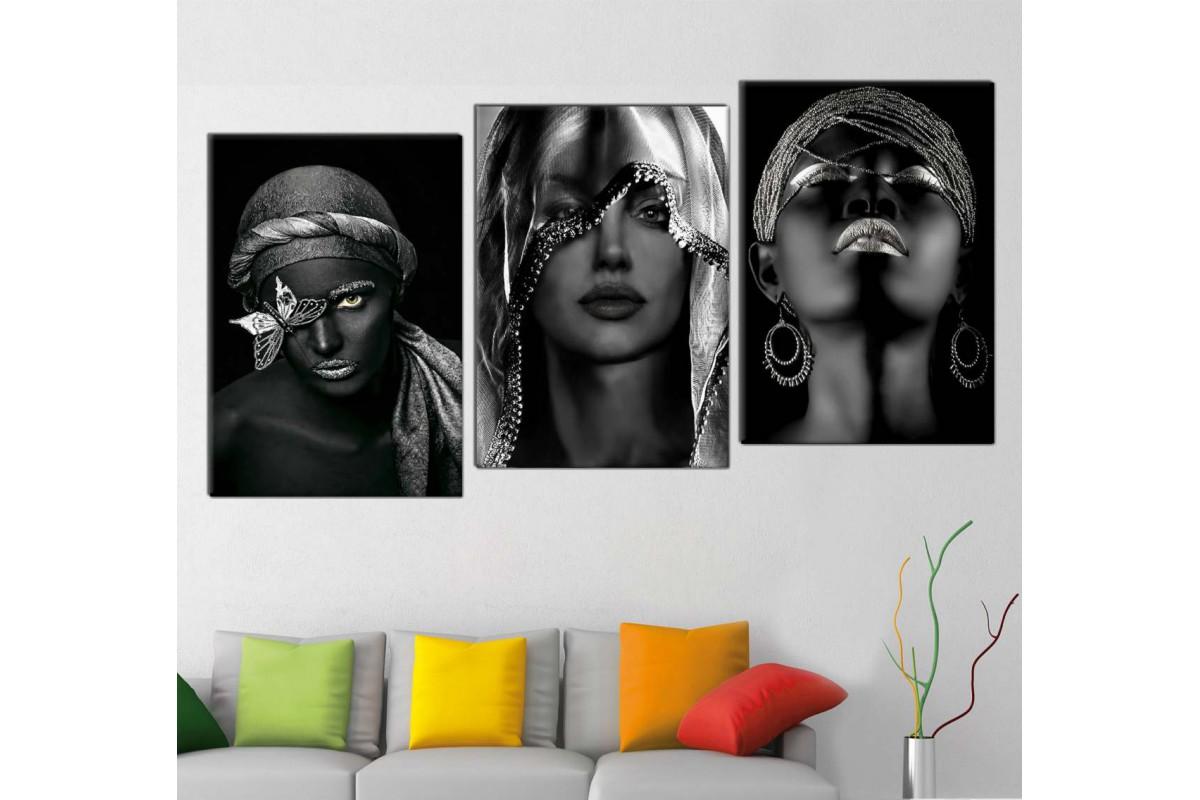 srda4k_3p - Gümüş ve Siyah Makyajlı Afrikalı Kadınlar Dekoratif Kombin Kanvas Tablo Seti