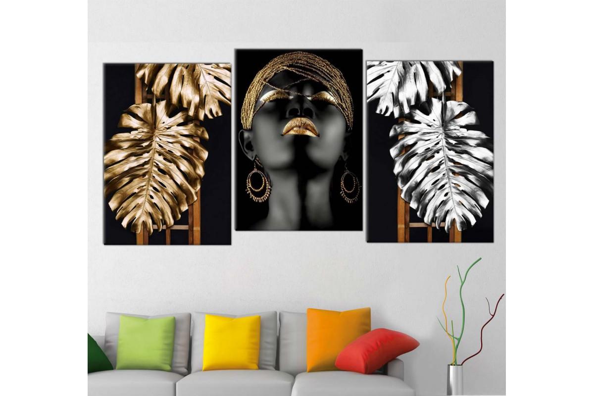 srda4m_3p - Altın ve Gümüş Yapraklar ve Siyah Makyajlı ve Altın Takılar Afrikalı Kadın Kombin Kanvas Tablo Seti