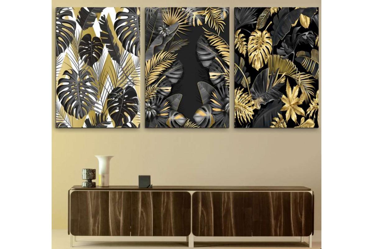 srdk123 - Siyah, Beyaz ve Sarı Tropikal Yapraklar Dekoratif Kanvas Tablo Seti