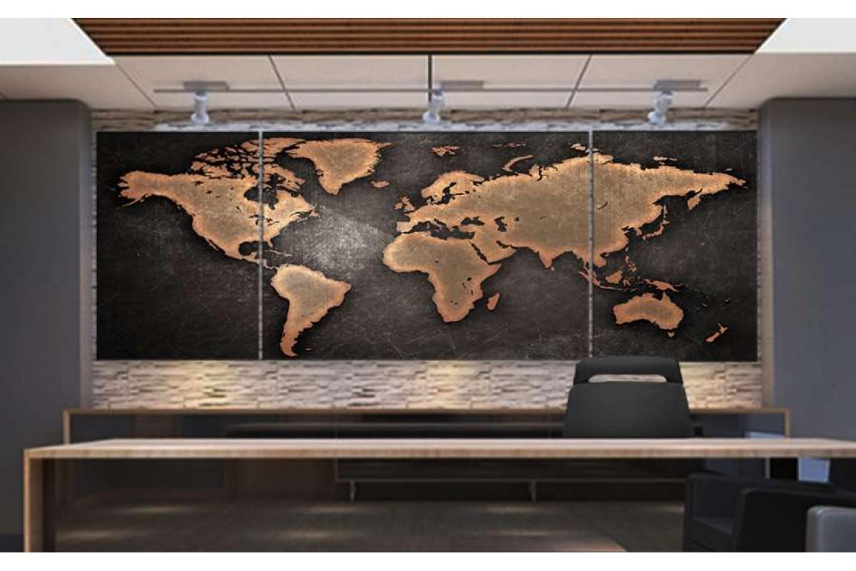 srh10_3p - Yıpranmış Görünümlü Kahverengi Dünya Haritası Kanvas Tablo