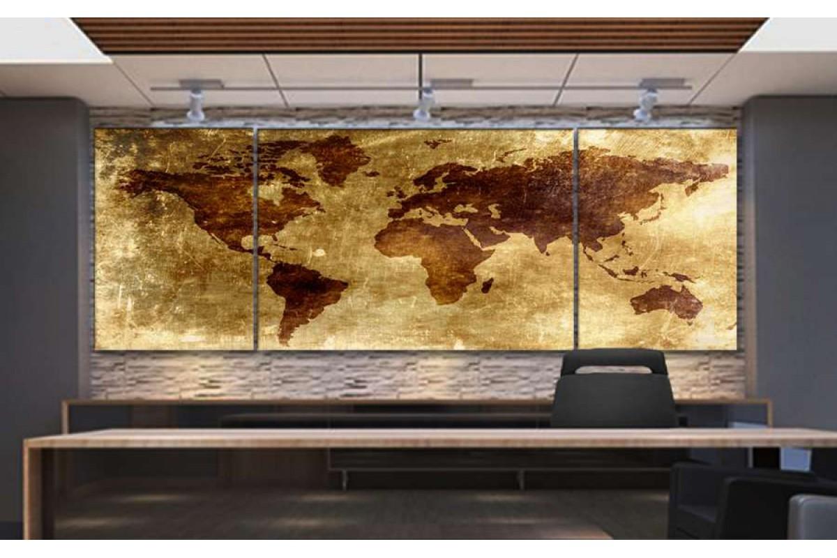 Srh16_3p - Eskitme Yaldız Görünümlü Dünya Haritası Kanvas Tablo
