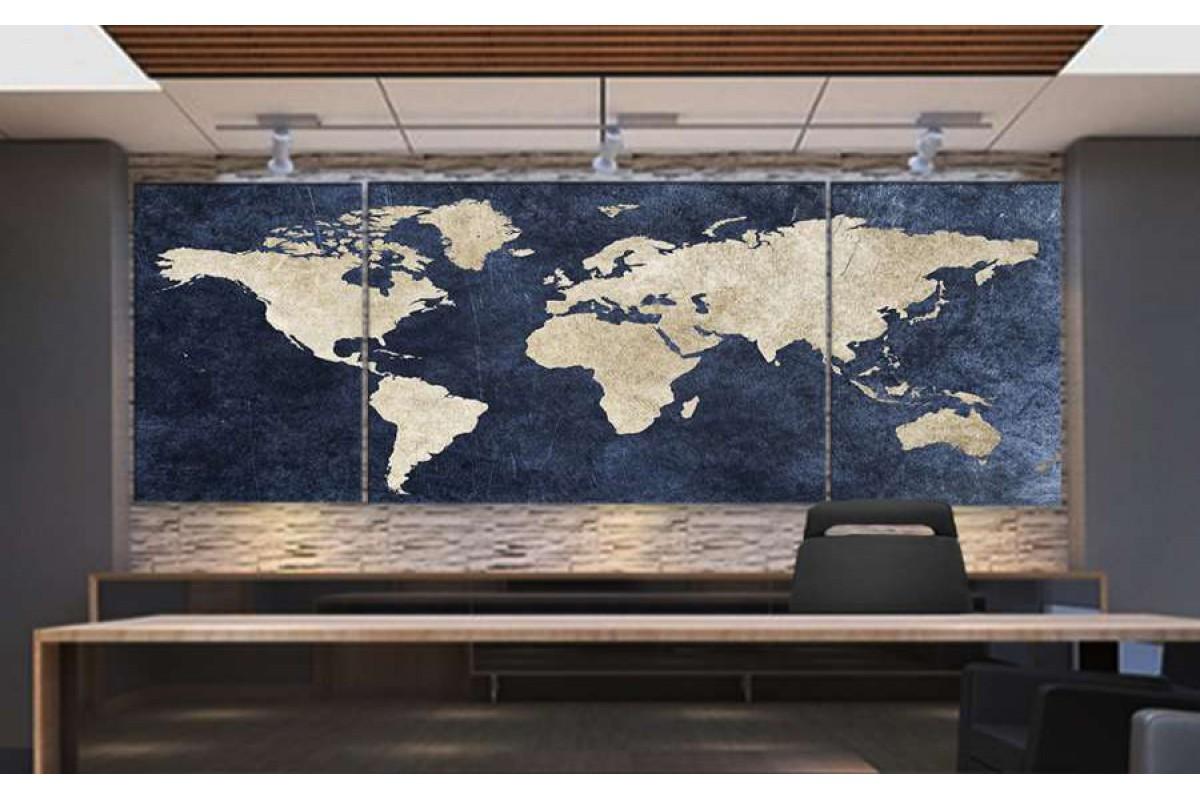 srh18_3p - Jean Kumaş Görünümlü Dünya Haritası Kanvas Tablo