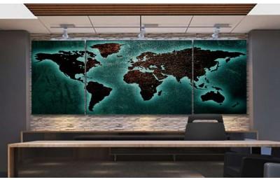Srh22_3p - Metalik Görünümlü Özel Tasarım Dünya Haritası Kanvas Tablo