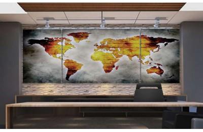 Srh24_3p - Eskitme Görünümlü Özel Tasarım Soyut Dünya Haritası Kanvas Tablo