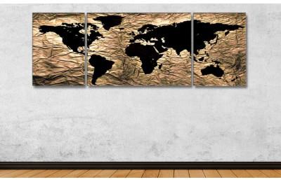Srh25_3p - Özel Tasarım Kumaş Zemin Görünümlü Dünya Haritası Kanvas Tablo