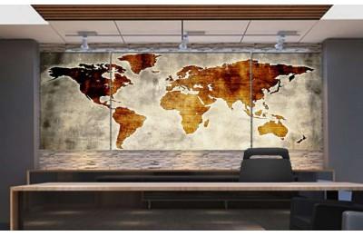 Srh27_3p - Özel Tasarım Eskitme Görünüm Dünya Haritası Kanvas Tablo