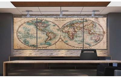 srh29_3p - 18.yy Küre Dünya Haritası Dekoratif Kanvas Tablo