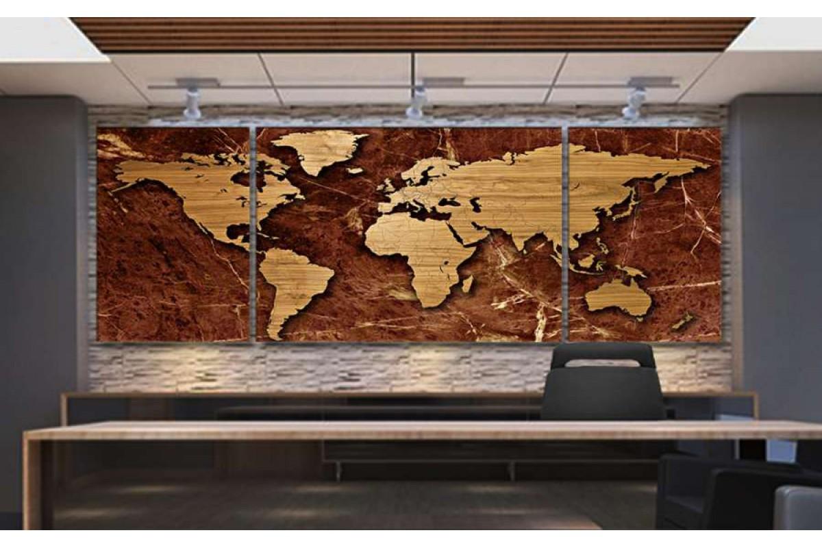 Srh2_3p - Özel Tasarım Mermer Ve Ahşap Görünümlü Dünya Haritası Kanvas Tablo