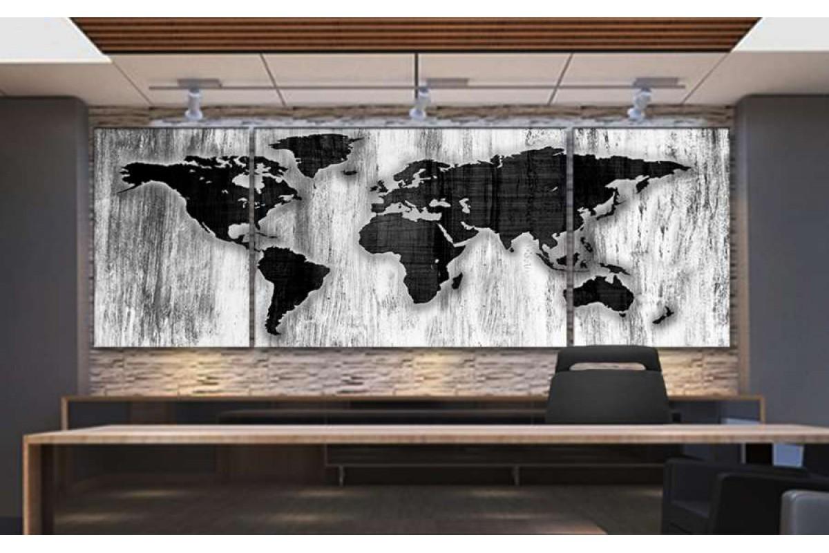 srh36_3p - Özel Tasarım Eskimiş Ahşap Görünümlü Dünya Haritası Kanvas Tablo