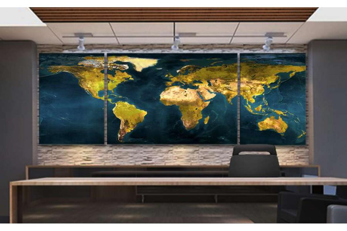 srh38_3p - Fiziki Dünya Haritası Coğrafi Dünya Haritası Kanvas Tablo