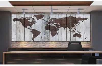 Srh39_3p - Ahşap Zemin Görünümlü Özel Tasarım Dünya Haritası Kanvas Tablo
