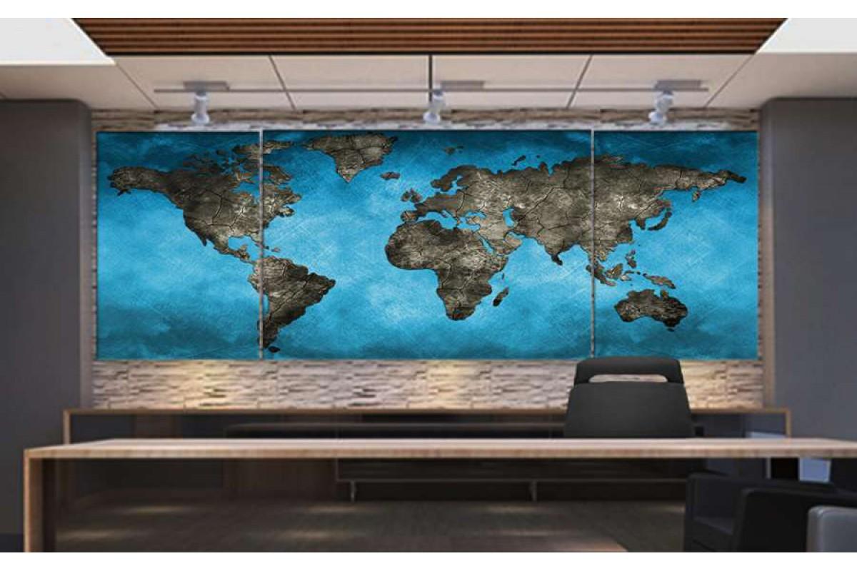 Srh4_3p - Turkuaz ve Taş Görünümlü Dünya Haritası Kanvas Tablo