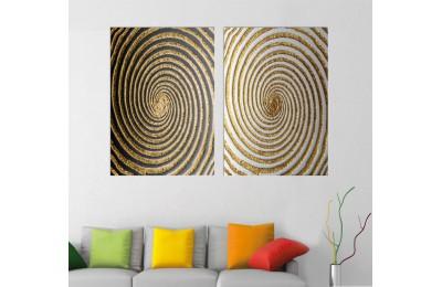 srsn23 - Helezonik, Spiral Desenli Dekoratif Modern Sanat Kanvas Tablo Seti