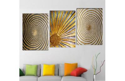 srsn321 - Helezonik, Spiral Desenli Dekoratif Modern Sanat Kanvas Tablo Seti