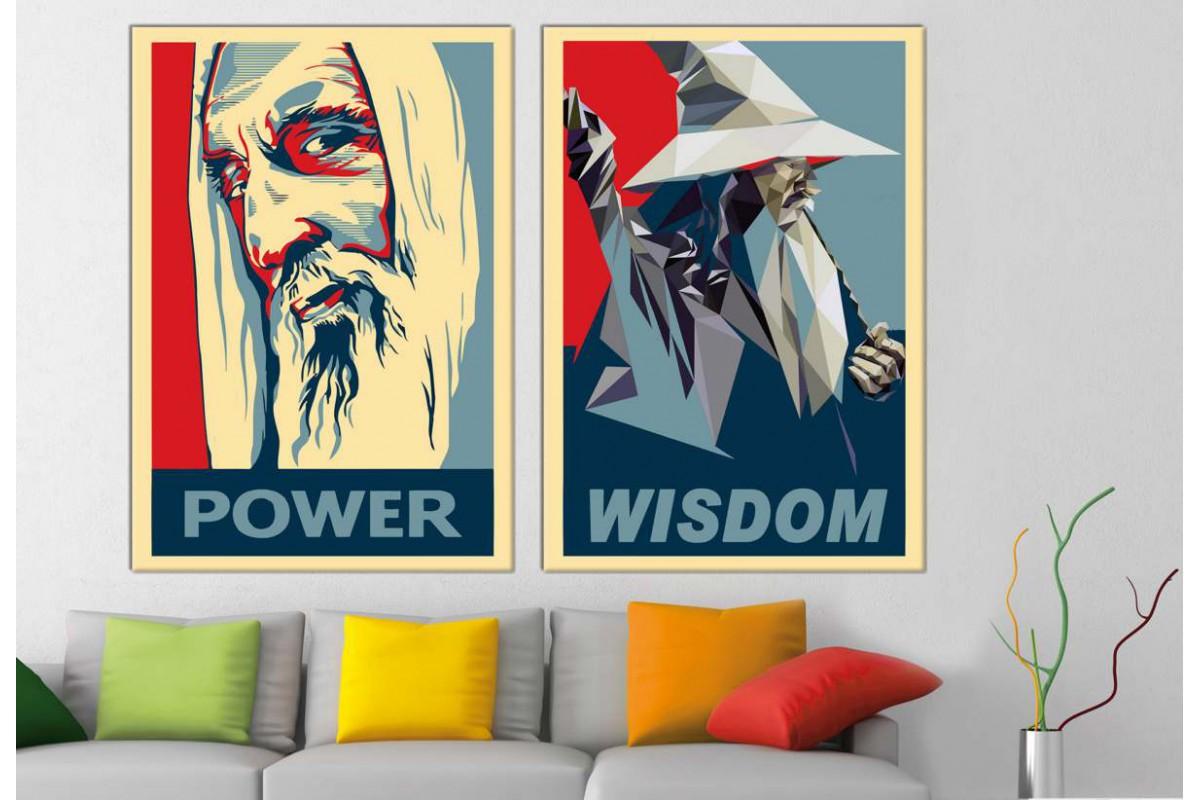 srye345_2p - Yüzüklerin Efendisi, Lotr, Saruman ve Gandalf Poster Stili Kanvas Tablolar