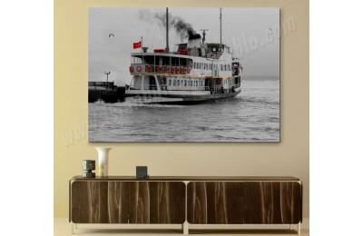 srst5 - İstanbul Manzarası Siyah Beyaz ve Kırmızı Şehir Hatları Vapuru Kanvas Tablo