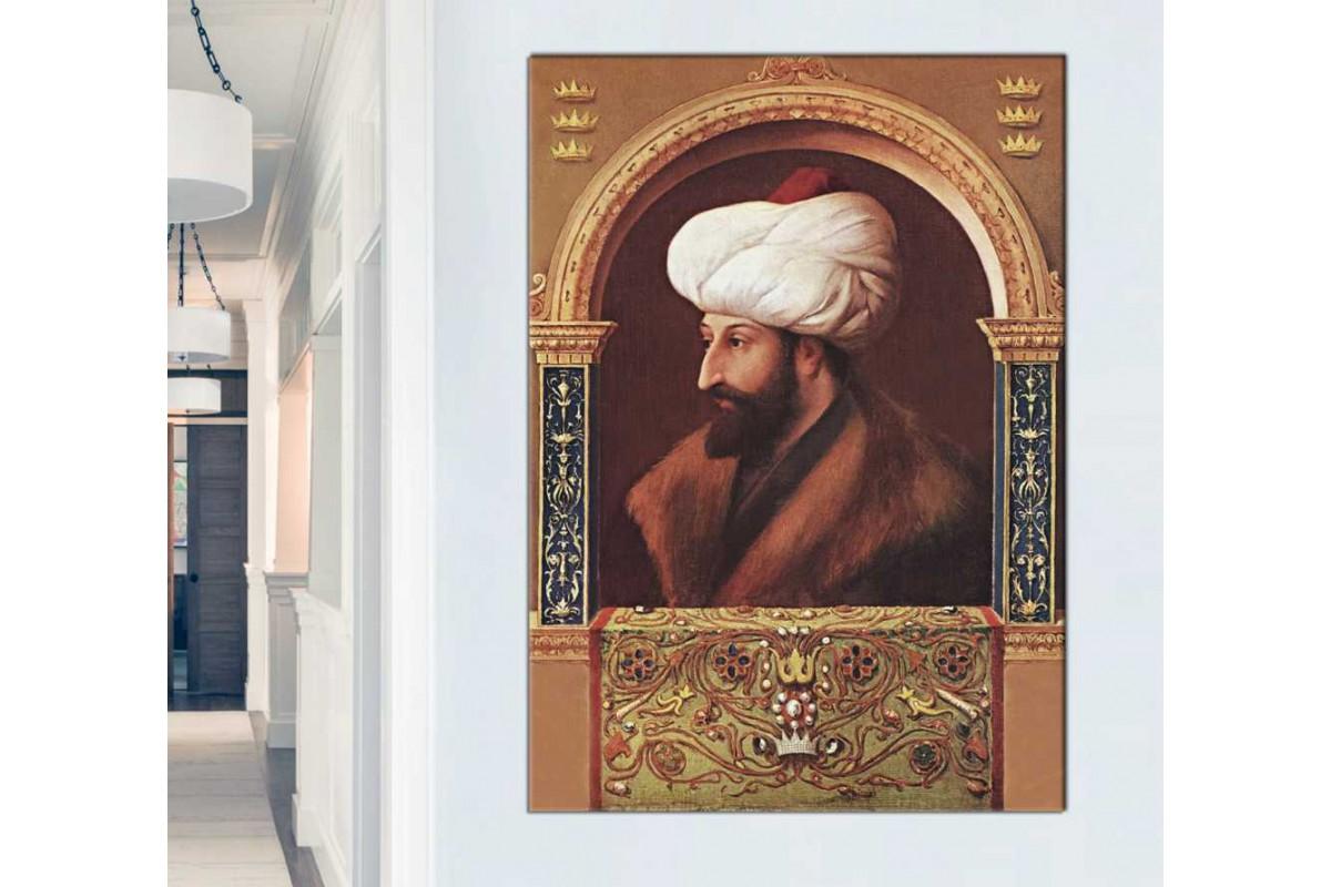 sfsm1 - Osmanlı Padişahı Fatih Sultan Mehmet Han Portresi kanvas tablo