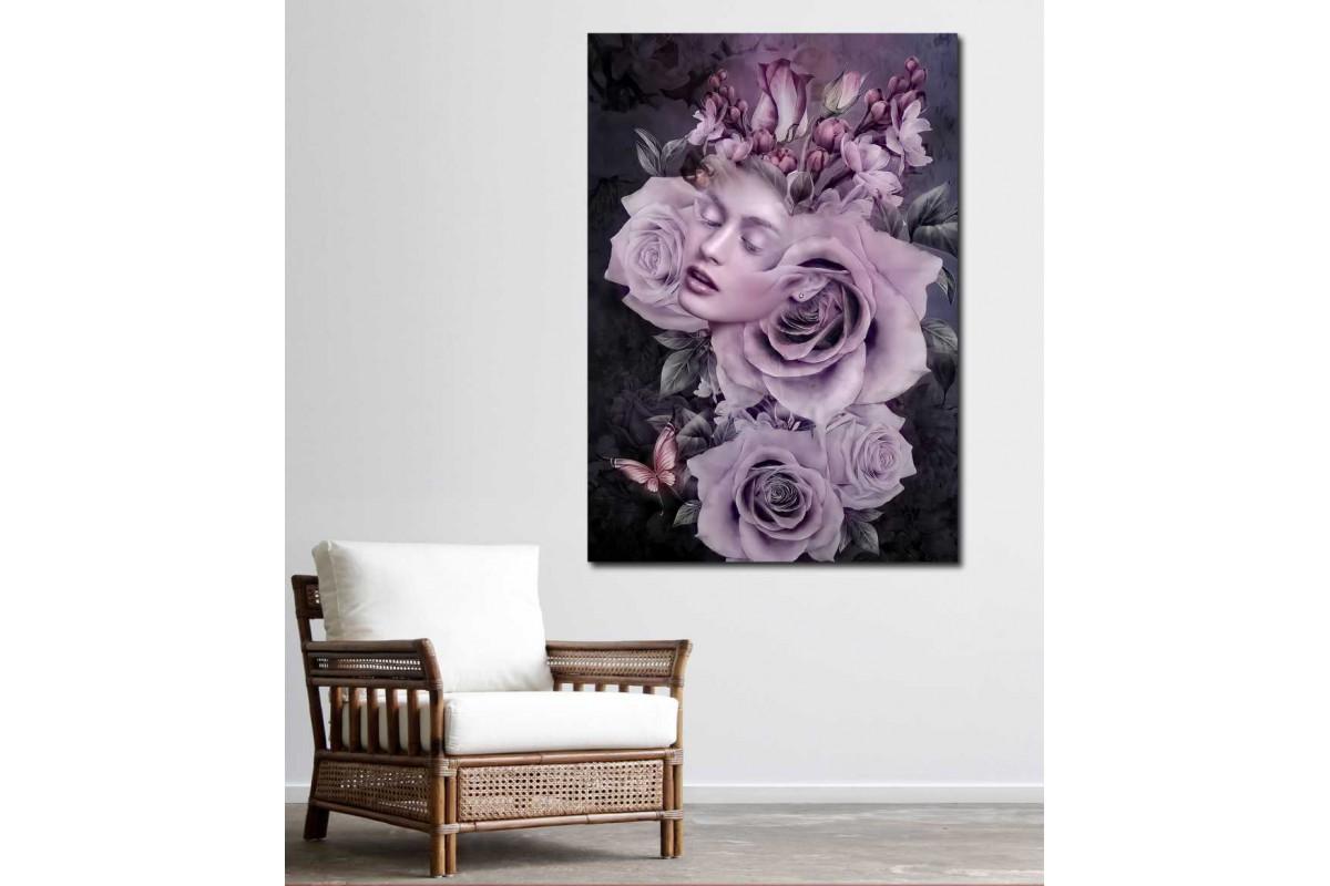 srkd62 - Çiçek Başlı Kadın, Pembe Güller ve Kadın Dekoratif Kanvas Tablo