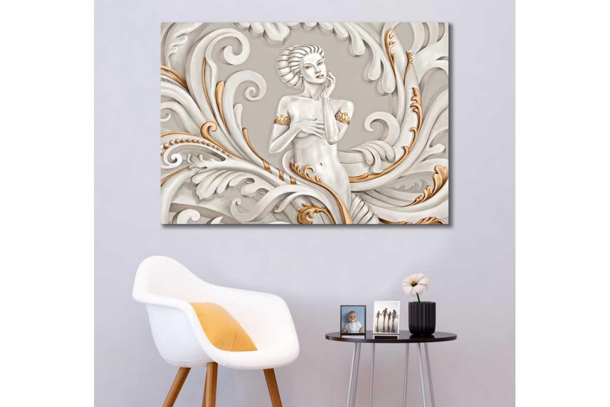 skrd63 - Üç boyutlu Görünümlü Güzel Kadın Dekoratif Kanvas Tablo