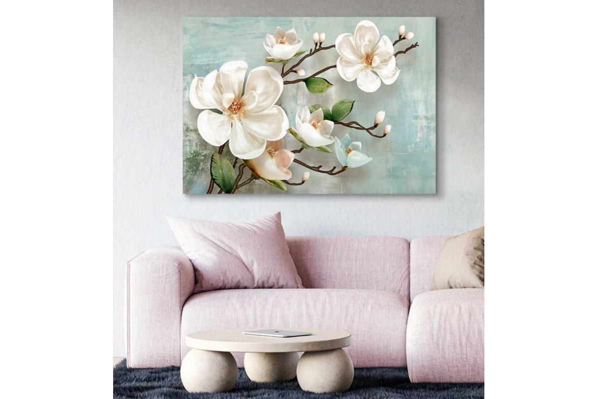 srdk86 - Pastel renk temalı Çiçek ve Yapraklar Dekoratif Kanvas Tablo