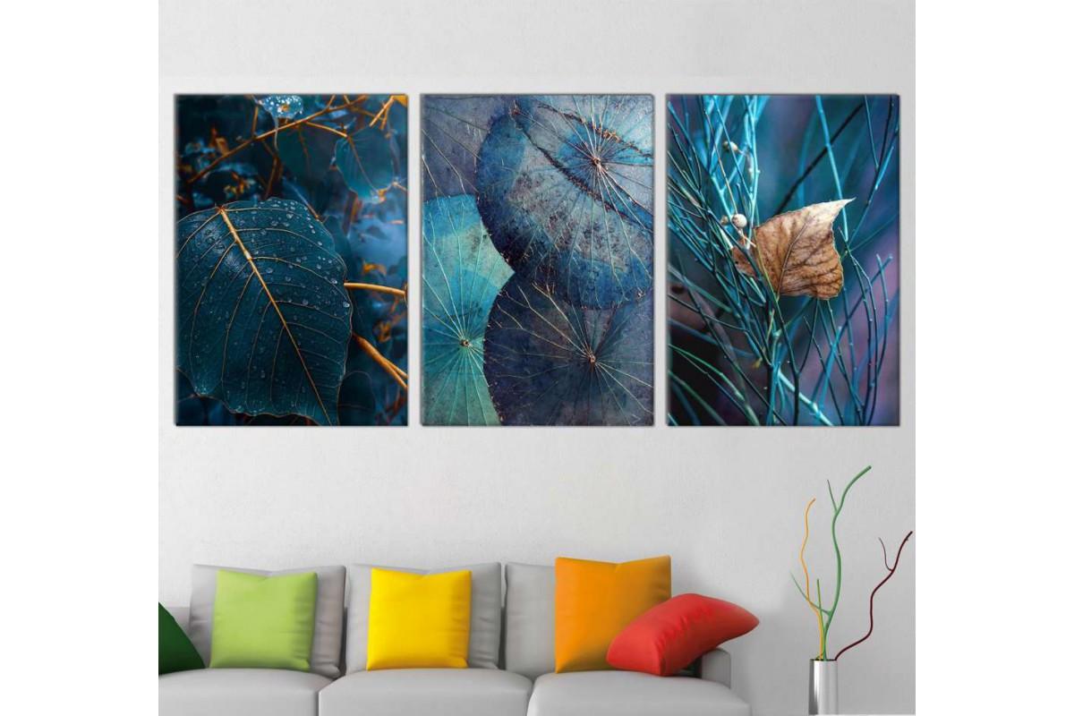 srdk223 - Mavi Yapraklar Konsept Dekoratif Kanvas Tablo Seti