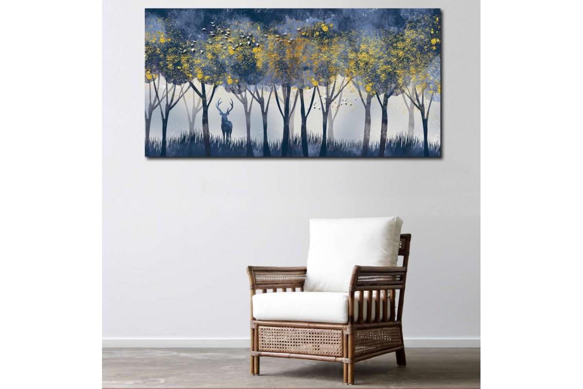 srdk24 - Altın Yapraklı Ağaçlar ve Geyik Soyut Kanvas Tablo