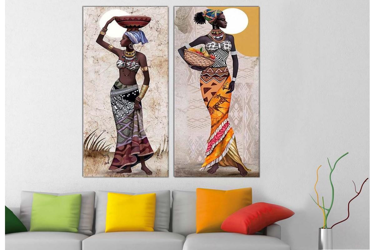 sraf1211_2p - Yağlı Boya Görünümlü Afrikalı Kadınlar Dekoratif Kanvas Tablo Seti - 2 adet 50x100 cm
