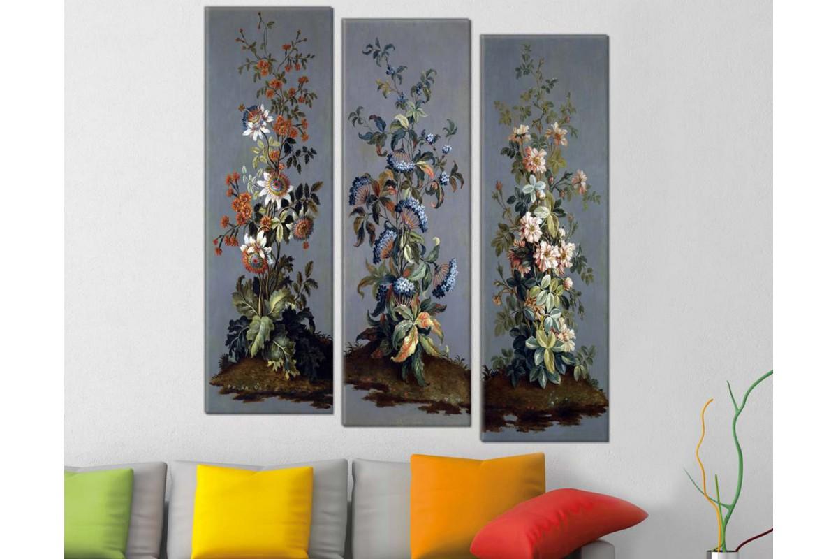 srfl123_3P - Yağlı Boya Görünümlü Çiçekler Dekoratif Kanvas Tablo Seti - 3 adet 25x80 cm