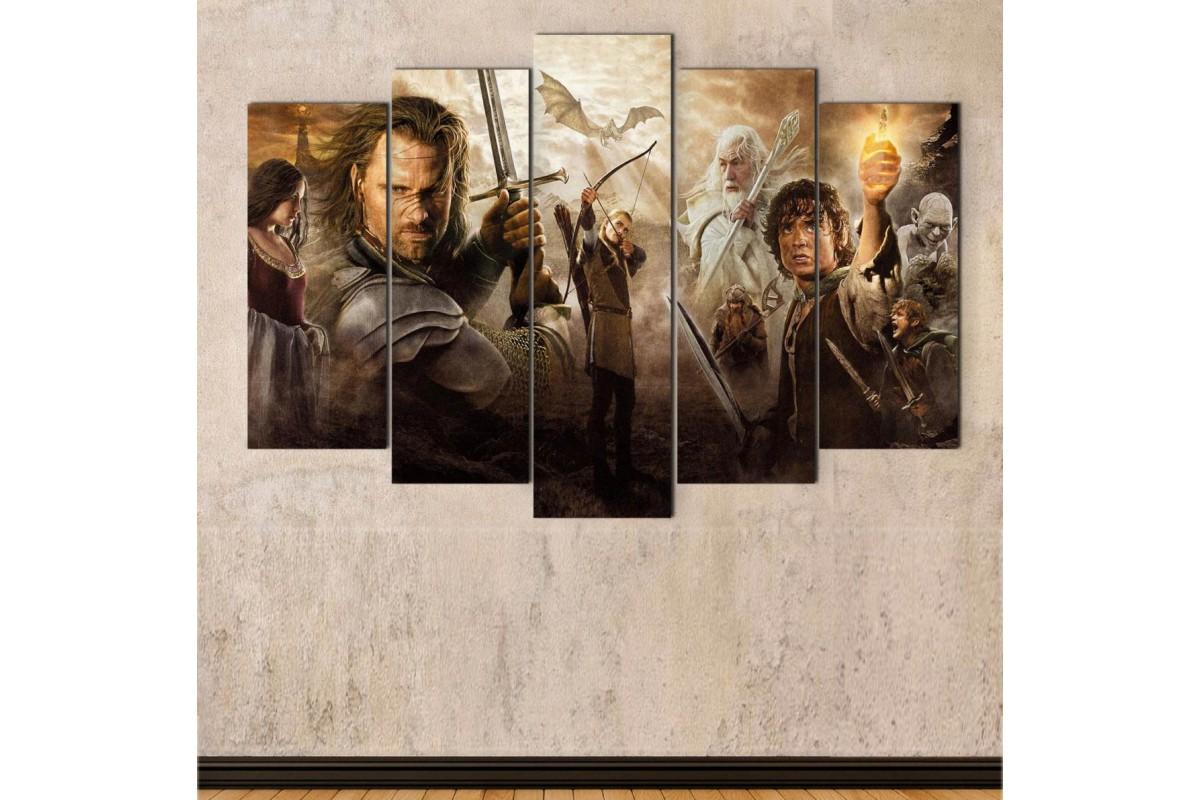 srye43 - Yüzüklerin Efendisi, Lord of the Rings Ana Karakterlerle Kolaj Kanvas Tablo