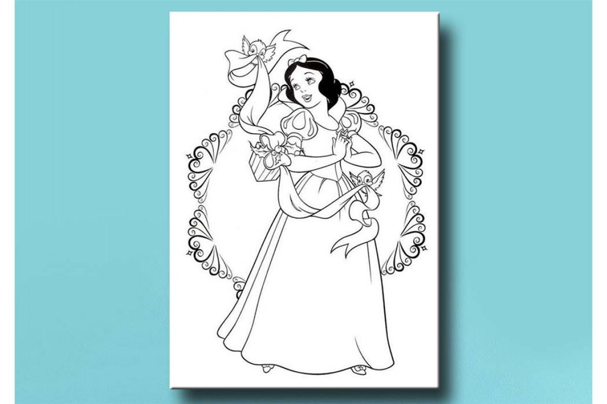 Çocuklar için renkli boyama tablo Pamuk Prenses bym13 (boyama kalem seti hediyeli)