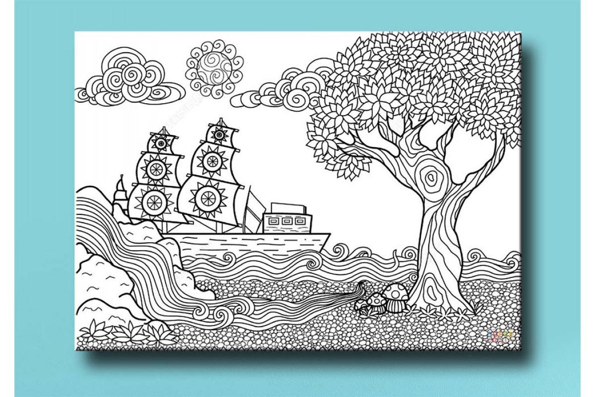 Çocuklar için renkli boyama tablo bym16 (boyama kalem seti hediyeli)